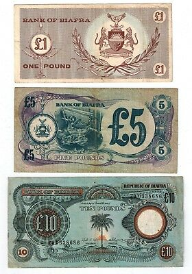 Six Biafra Bills, Circulated, 2x5 shillings,, 2x1 Pound, 5, and 10 pounds