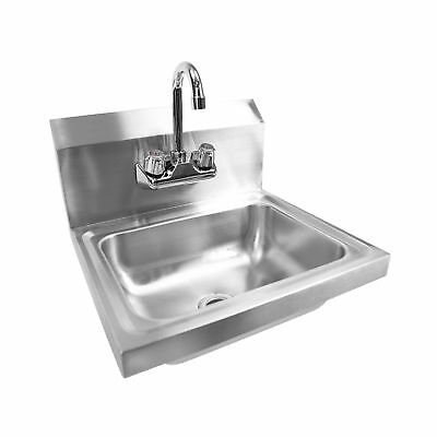 Commercial Hand Washing Water Faucet Basin Sink Restaurant Work Stainless Steel