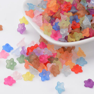 1900PCS Transparent Acrylic Beads Flower Dyed Mixed Color 10x6mm Bead Caps