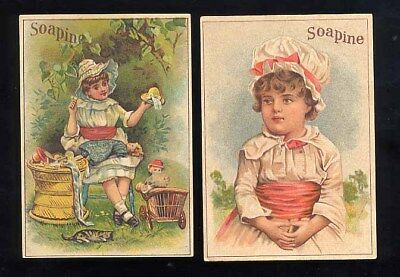A pair of ad trade cards for Soapine Cleaner Two Young Girls One with Doll Ex