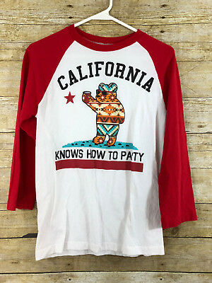 852e8234 Riot Society California Knows How To Party Womens Small Bear Red & White T- Shirt