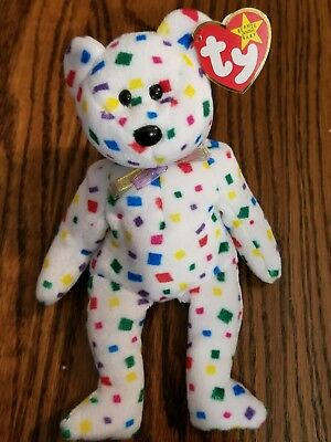 """Ty Beanie Baby Babies - """"Ty 2K"""" White Confetti Bear 2000 NEW with Tags"""