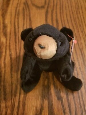 "Ty Beanie Baby Babies - ""Blackie"" Black Bear 1994 Tags Excellent Condition"