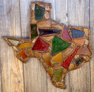 "Stained Glass Mosaic Texas Wall Art - 16"" - Handmade Texas Shape Home Decor"