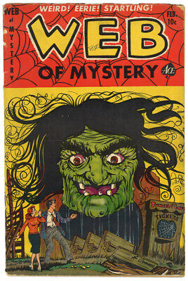 Web of Mystery 17 -- Classic Lou Cameron Witch Cover -- Precode Horror, Feb 1953