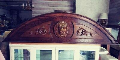 Architectural Salvage - Carved Wood, Lion's Head Pediment Cabinet Topper