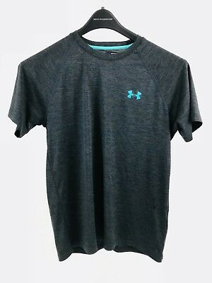 Under Armour Mens Loose Fit Athletic Tee Gray Teal Logo Small