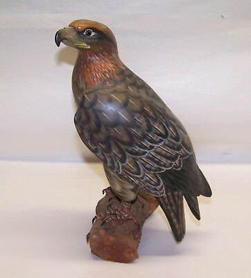 """Original Hand Carved Bird Cooper's Hawk Hand Painted And Carved Wood 9 1/2"""""""