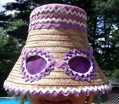Vintage Upscaled Straw Bucket Hat with Built in Sunglasses Custom Created Best!
