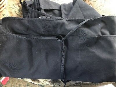 Lot Of 5 Black Waitress Aprons Heavy Duty 3Front Pockets Preowned