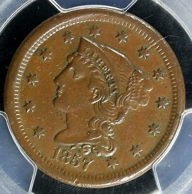1857    Large Cent - SMALL DATE      PCGS AU50