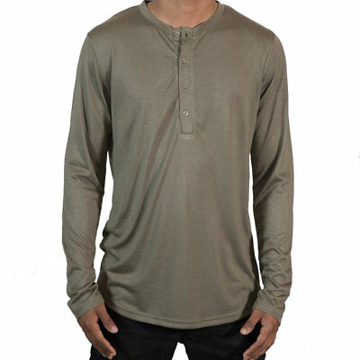 45ea441e H&M DIVIDED MENS Olive Green Linen 1/4 Button Henley Long Sleeve ...