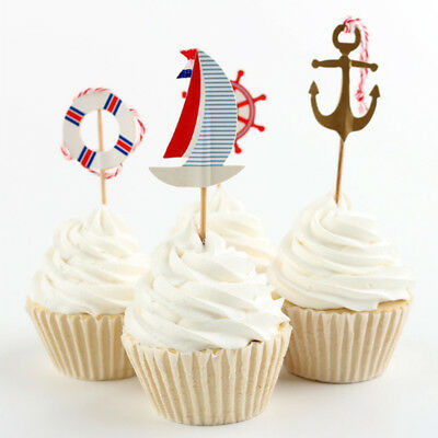 24pcs Colorful Anchor Flags Cake Decoration For Wedding/Anniversary/Party