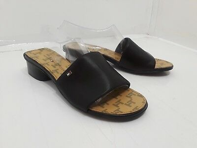 0af2809955b Tommy Hilfiger Womens Black Block Heel Open Toe Slip On Sandal Size 8M