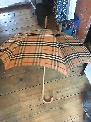 Vintage Burberry Umbrella, large wooden frame, rarely used