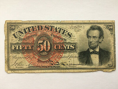 50 cents, Fractional currency, act approved march 1863