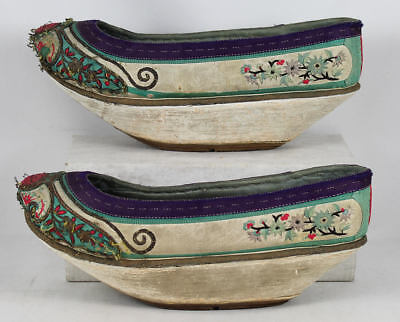 "Antique Pr. 19C Embroidered Chinese Manchu Silk ""flower Boat"" Shoes"