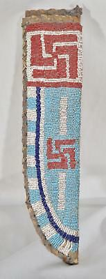 Large Beaded Sioux Knife Sheath ~ Rawhide ~ 10 1/2 inches Tall & 2 1/2 wide