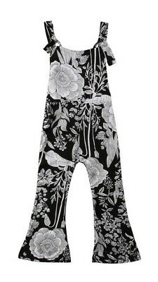 NWT Girls Black Floral Floral Sleeveless Flare Romper Jumpsuit Sunsuit