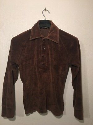KINGS ROAD Men's Vintage 70s V-Neck Brown Cotton Sweater Size Medium