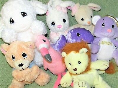8 PRECIOUS MOMENTS Enesco TENDER TAILS Bean Bag & Plush Lot LAMB BUNNY LION ++