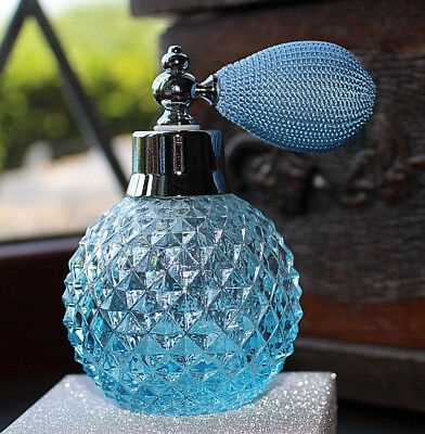 Blue / Turquoise Glass Atomizer Scent Bottle - Excellent Condition