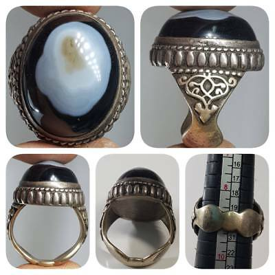 Antique Sulaimany Agate stone Silver Rare Unique Ring  # 1E