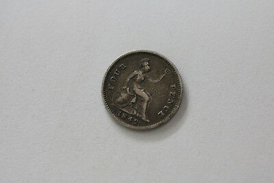 Uk Gb 4 Pence 1842 Groat Silver Victoria Nice Details A93 #tk5751