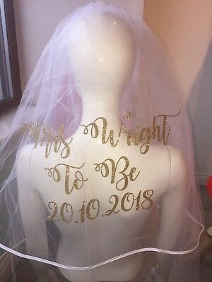 Personalised Veil Wedding Hen Party Glitter Sparkle With Date NEW
