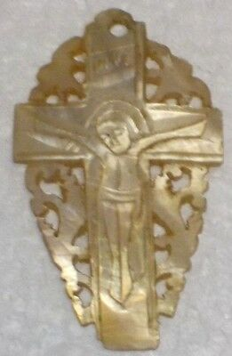 "Hand Carved MOTHER OF PEARL Crucifix INRI signed on back, ""JERUSALEM"" approx 2"""