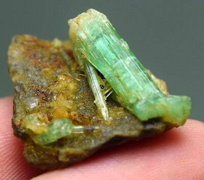 17.20 CRT terminated Natural untreated Emerald crystal rare rough specimen @AFG