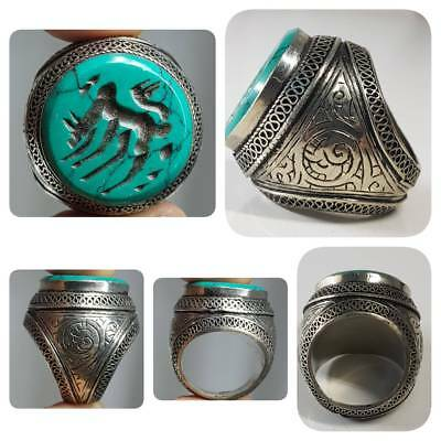 Silver Old Turquoise Horse intaglio Stone Beautiful Ring    # 1E