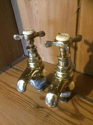 Vintage Reclaimed Old Brass Basin Taps REDUCED