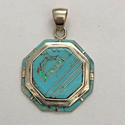 Sterling Silver Inlay Stone Turquoise Opal Coral Lapis Octagon Shape Pendant
