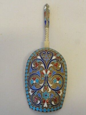 Antique Russian silver 84 cloisonne enamel tea caddy scoop by Gustav Klingert