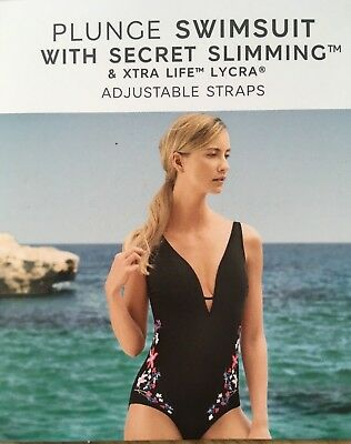 76c951bc469 M&s Black Secret Slimming Plunge Embroidered Floral Panels Non Wired  Swimsuit 20