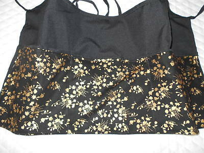 3 POCKET Black Server WAITRESS WAIST APRON Gold Flowers  W/WO Name Lady Pizazz