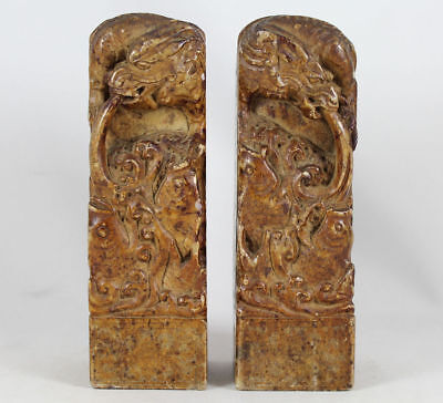 PAIR of LARGE CHINESE CARVED SOAPSTONE SEALS, DRAGONS, FISH