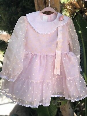Vintage Sheer Party Dress Pink White Circle Skirt 3T 4T Girls Toddler