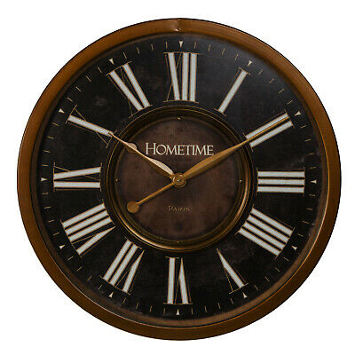 Vintage Style Large Black & Bronze Finish Metal Case Round Wall Clock 60cm