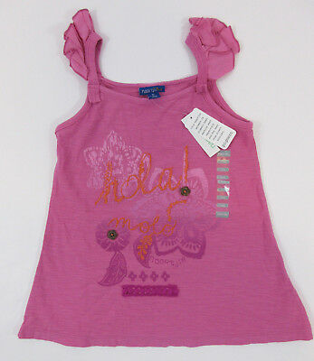 Naartjie Kids Girls Pink Hola Flower Serena Tank Top Ruffle Sleeve Size 7 XL NWT