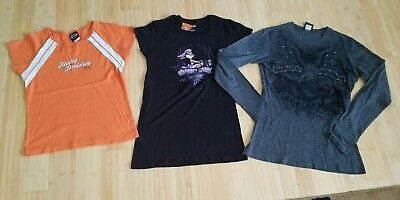 Womens Lot Of 3 Harley Davidson Motorcycles Tops Cropped Shirt Size M & Xl...b2