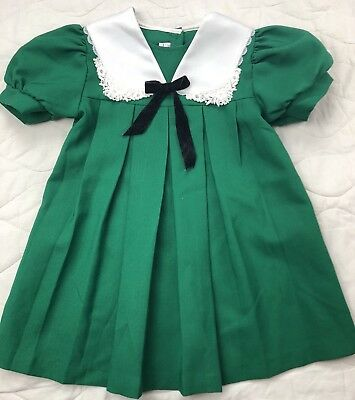 Vintage Green and White Wonderland Fashion Dress 5t Toddler Girl