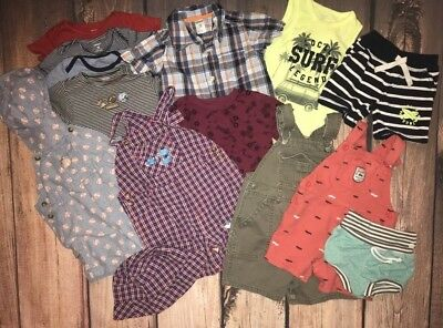 Toddler Boys Summer Clothing Lot size 18 24 months Overalls Shorts Hats