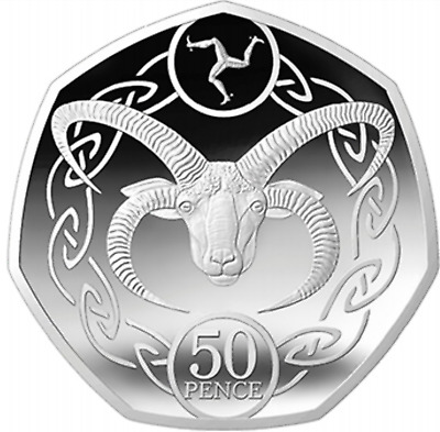 Uncirculated Isle Of Man IOM Manx Loaghtan Sheep Ram Goat 50p 50 Pence Coin 2020