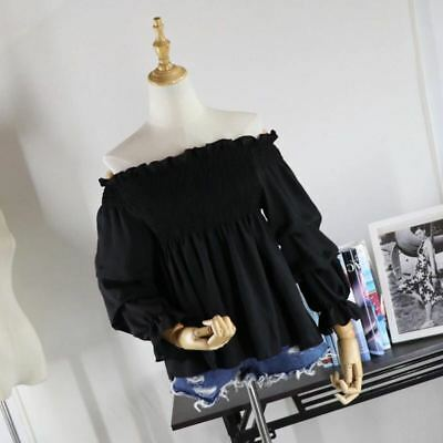 Women Blouse Shirt Off-Shoulder Long Sleeve Loose T-Shirts Casual Tops Lady S-XL