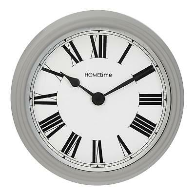 Traditional Round Wall Clock Roman Dial Grey 34cm