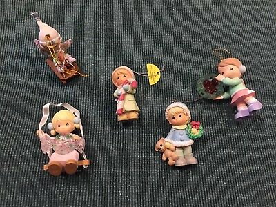 Precious Moments ~ Lot Of 5 Christmas Tree Ornaments ~ Resin 2000's *lights