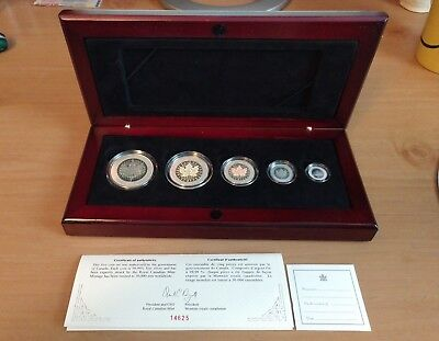 2003 Canada Five Coin Fine Silver Maple Leaf Hologram Coin Set