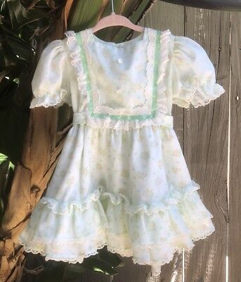 Vintage Disney Winnie the Pooh Girls Party Dress Eyelet Floral Embroidered Sz 3